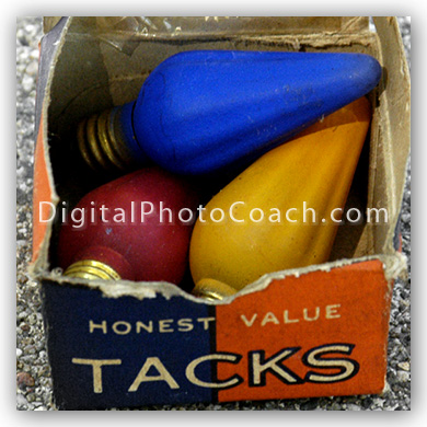 antique Christmas lights in antique tack box